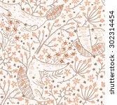 vector floral seamless pattern...   Shutterstock .eps vector #302314454