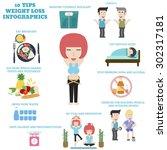 10 tips weight loss infographics | Shutterstock .eps vector #302317181