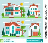 Set Of Houses And Plants In A...
