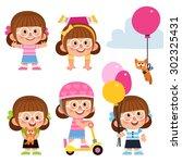 set of cartoon characters. girl ... | Shutterstock .eps vector #302325431