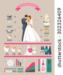 wedding vector infographics set.... | Shutterstock .eps vector #302326409