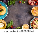table served with middle... | Shutterstock . vector #302330567