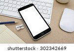 workplace with mobile phone on... | Shutterstock . vector #302342669