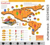 fast food infographic. map of... | Shutterstock .eps vector #302345825