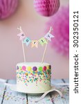 cake decorated for a birthday... | Shutterstock . vector #302350121