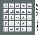 hotel and accommodation icons... | Shutterstock .eps vector #302353397