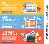 web development  mobile apps... | Shutterstock .eps vector #302356601