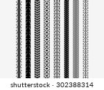 isolated bike tire tracks... | Shutterstock .eps vector #302388314