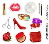 Red Ladies Handbag With...