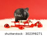 black piggy bank with white... | Shutterstock . vector #302398271