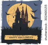 happy halloween card  with... | Shutterstock .eps vector #302400155