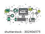 thin line flat design of... | Shutterstock .eps vector #302406575