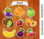 fresh fruit on wooden... | Shutterstock .eps vector #302408351