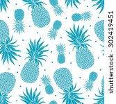 vector vintage pineapple... | Shutterstock .eps vector #302419451