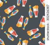 wine flat icon seamless pattern ... | Shutterstock . vector #302426387