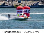 Small photo of PORTO, PORTUGAL - AUGUST 1, 2015: Christophe Larigot (FRA) during the U.I.M. F1H2O World Championship in Porto, Portugal.