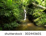 waterfall in the national park... | Shutterstock . vector #302443601