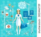doctor medicine medical... | Shutterstock .eps vector #302446739
