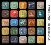beach line flat icons with long ... | Shutterstock .eps vector #302448611