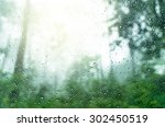 Rain Drop On Window Glass With...