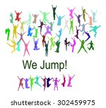 win win people jumping  | Shutterstock .eps vector #302459975