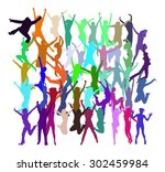 people jumping united... | Shutterstock .eps vector #302459984