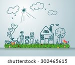 happy family with house ... | Shutterstock .eps vector #302465615