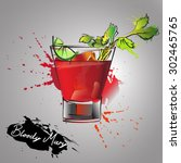 bloody mary cocktails drawn... | Shutterstock .eps vector #302465765