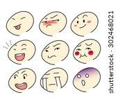 set of emotion cartoon face... | Shutterstock .eps vector #302468021