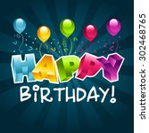birthday greeting card with... | Shutterstock .eps vector #302468765