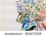 used stamps mail of  different...   Shutterstock . vector #302471939
