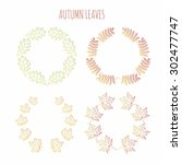 autumn background with leaves.... | Shutterstock .eps vector #302477747