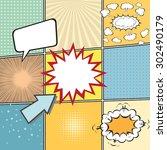 comic book template with speech ...   Shutterstock .eps vector #302490179