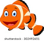 cute clown fish cartoon | Shutterstock .eps vector #302492651