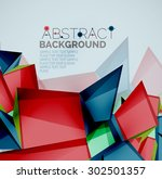 3d geometric shapes with sample ... | Shutterstock .eps vector #302501357
