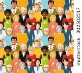 crowd of flat international... | Shutterstock . vector #302503517
