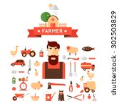 Farmer And Set Of Icons....