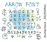 black blue arrow alphabet... | Shutterstock .eps vector #302503961