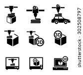3d printer icons vector. | Shutterstock .eps vector #302508797