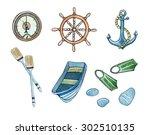 set of sea elements hand drawn... | Shutterstock . vector #302510135