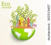 environmentally friendly world. ... | Shutterstock .eps vector #302515607