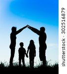 silhouette of a happy family...   Shutterstock . vector #302516879