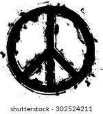 black paint grunge peace symbol ... | Shutterstock .eps vector #302524211