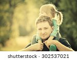 father and daughter. vintage... | Shutterstock . vector #302537021