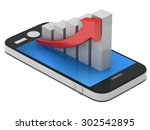 3d white bar graph with red...