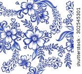 vector floral watercolor... | Shutterstock .eps vector #302545301
