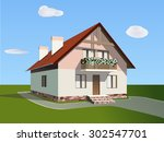 the house with the stone base ... | Shutterstock .eps vector #302547701