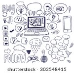 the social media background... | Shutterstock .eps vector #302548415