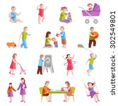 children playing indoors and... | Shutterstock .eps vector #302549801