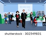 customers and staff people in... | Shutterstock .eps vector #302549831